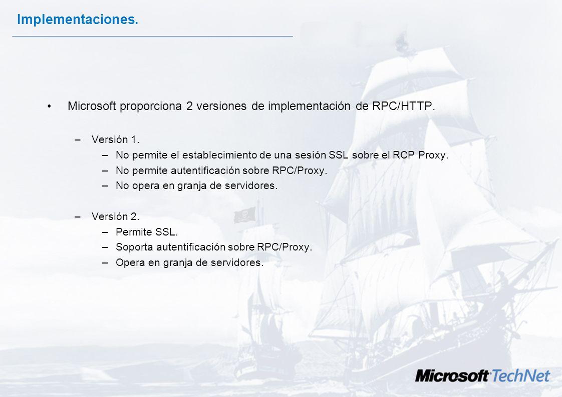 Arquitectura En el procedimiento de una comunicación RPC/HTTPS intervienen los siguientes componentes: –Cliente RPC/HTTPS. –Proxy/Firewall RPC (enruta