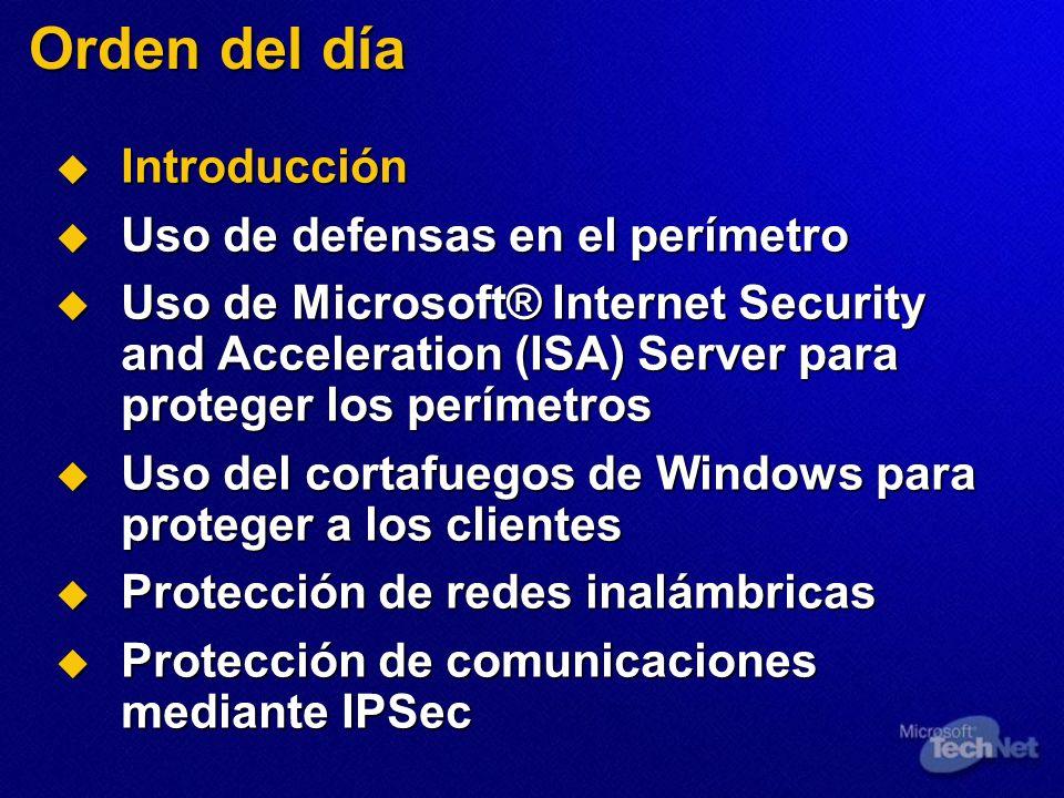 Orden del día Introducción Introducción Uso de defensas en el perímetro Uso de defensas en el perímetro Uso de Microsoft® Internet Security and Accele
