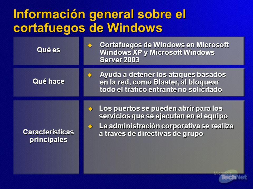Información general sobre el cortafuegos de Windows Cortafuegos de Windows en Microsoft Windows XP y Microsoft Windows Server 2003 Cortafuegos de Wind