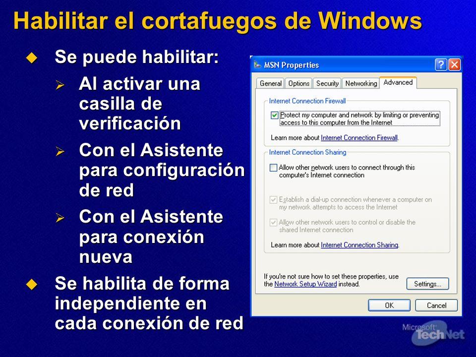 Se puede habilitar: Se puede habilitar: Al activar una casilla de verificación Al activar una casilla de verificación Con el Asistente para configurac