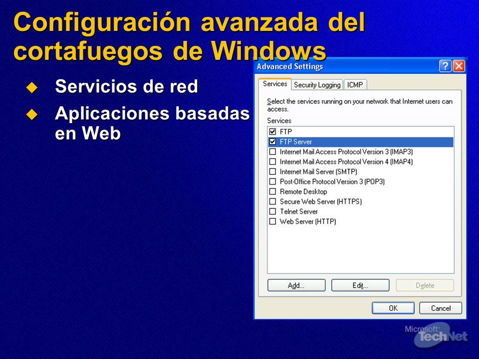 Servicios de red Servicios de red Aplicaciones basadas en Web Aplicaciones basadas en Web Configuración avanzada del cortafuegos de Windows