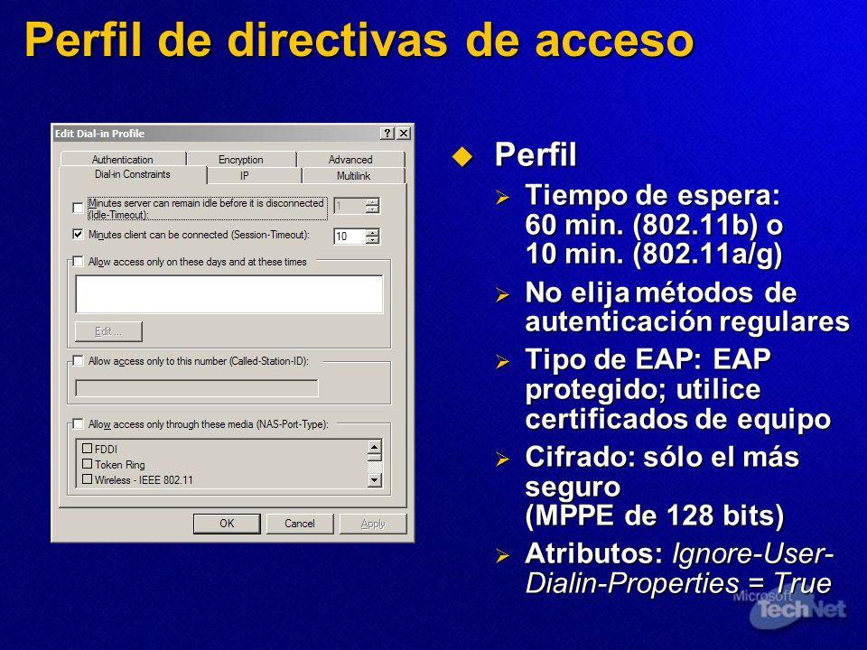 Perfil de directivas de acceso Perfil Perfil Tiempo de espera: 60 min. (802.11b) o 10 min. (802.11a/g) Tiempo de espera: 60 min. (802.11b) o 10 min. (