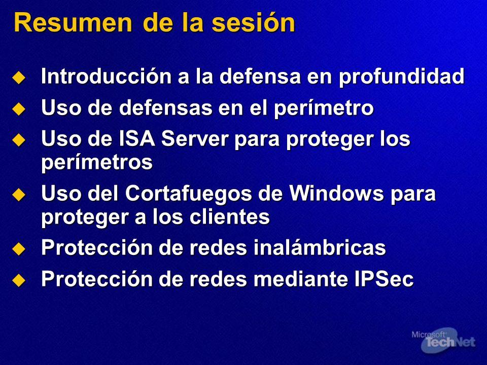 Resumen de la sesión Introducción a la defensa en profundidad Introducción a la defensa en profundidad Uso de defensas en el perímetro Uso de defensas