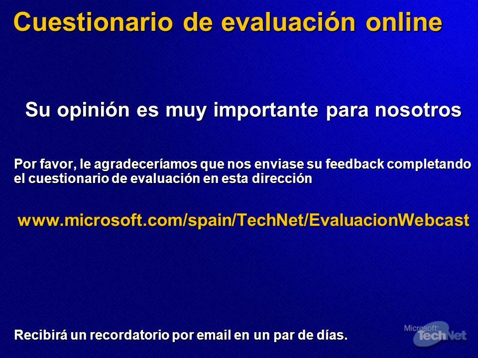 Cuestionario de evaluación online Su opinión es muy importante para nosotros Por favor, le agradeceríamos que nos enviase su feedback completando el c