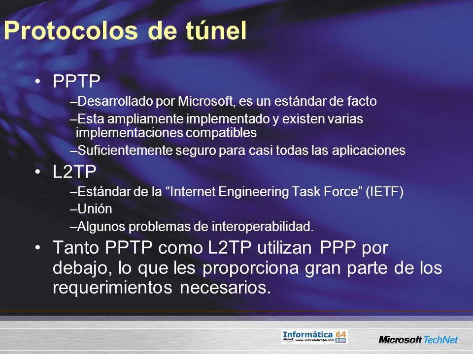 Protocolos de túnel PPTP –Desarrollado por Microsoft, es un estándar de facto –Esta ampliamente implementado y existen varias implementaciones compati