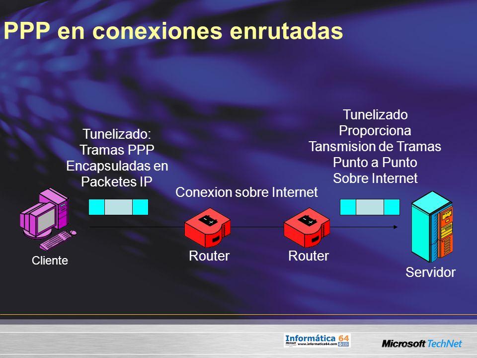 PPP en conexiones enrutadas Conexion sobre Internet Tunelizado: Tramas PPP Encapsuladas en Packetes IP Servidor Cliente Router Tunelizado Proporciona