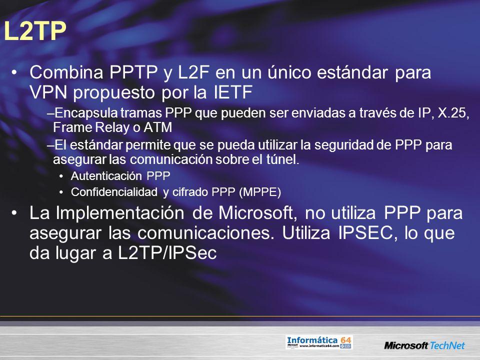 L2TP Combina PPTP y L2F en un único estándar para VPN propuesto por la IETF –Encapsula tramas PPP que pueden ser enviadas a través de IP, X.25, Frame