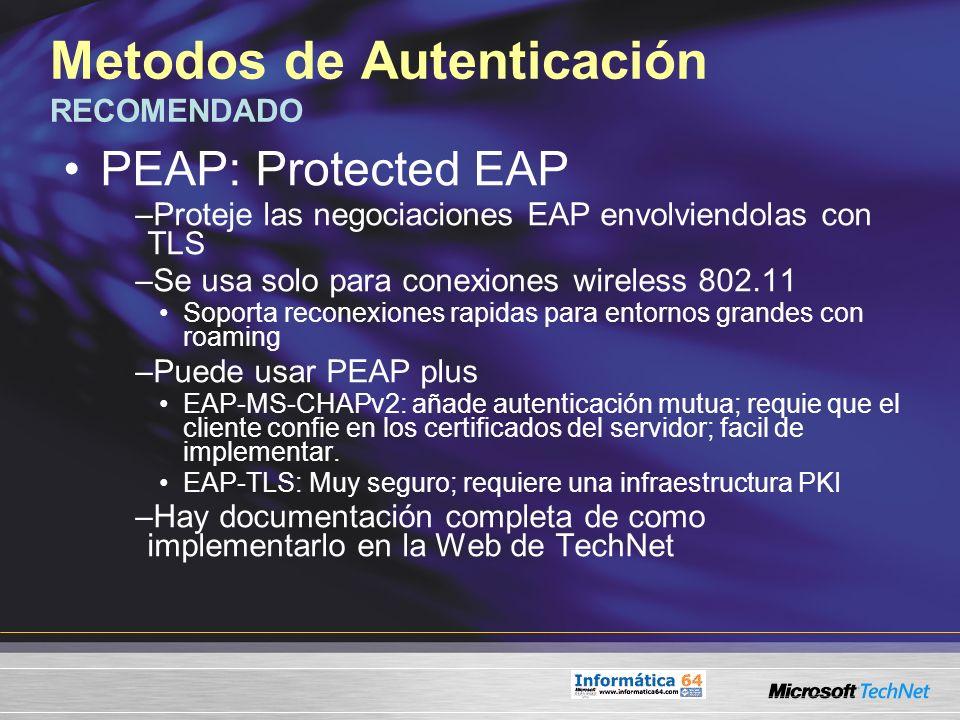 Metodos de Autenticación RECOMENDADO PEAP: Protected EAP –Proteje las negociaciones EAP envolviendolas con TLS –Se usa solo para conexiones wireless 8