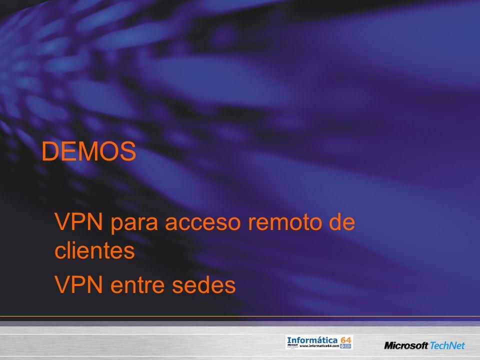 DEMOS VPN para acceso remoto de clientes VPN entre sedes