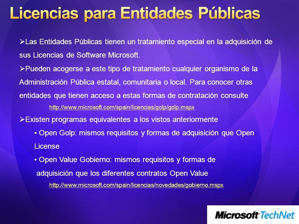 Las Entidades Públicas tienen un tratamiento especial en la adquisición de sus Licencias de Software Microsoft. Pueden acogerse a este tipo de tratami