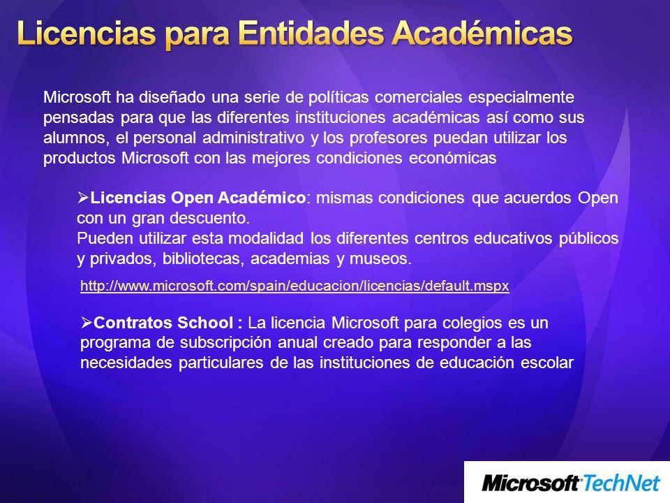 Microsoft ha diseñado una serie de políticas comerciales especialmente pensadas para que las diferentes instituciones académicas así como sus alumnos,
