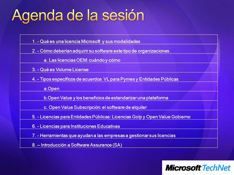 1. - Qué es una licencia Microsoft y sus modalidades 2. - Cómo deberían adquirir su software este tipo de organizaciones a. Las licencias OEM: cuándo