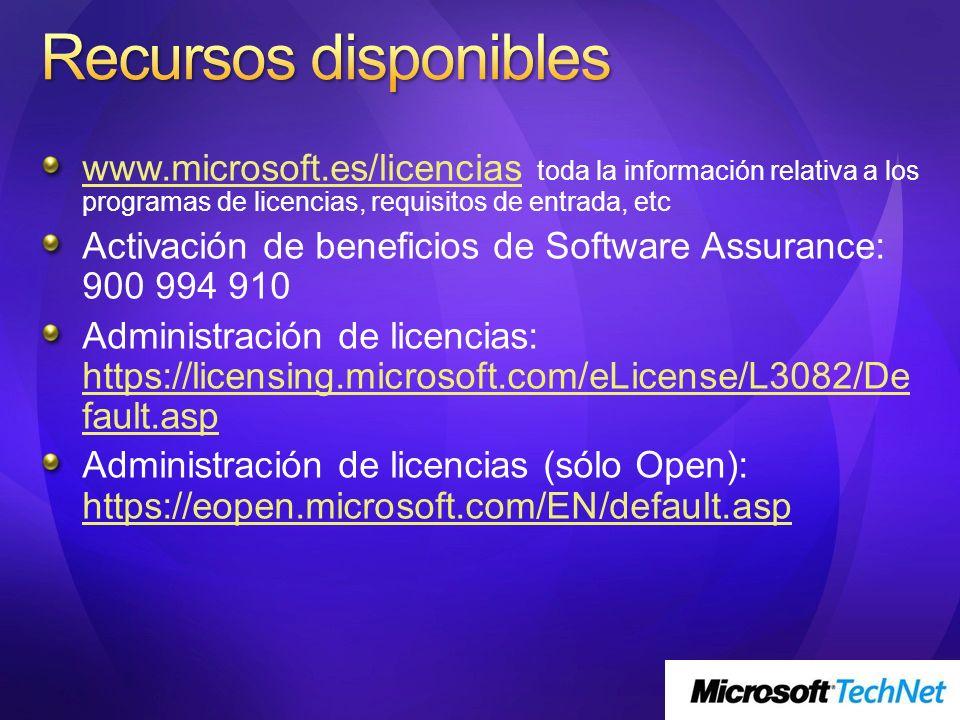 www.microsoft.es/licenciaswww.microsoft.es/licencias toda la información relativa a los programas de licencias, requisitos de entrada, etc Activación