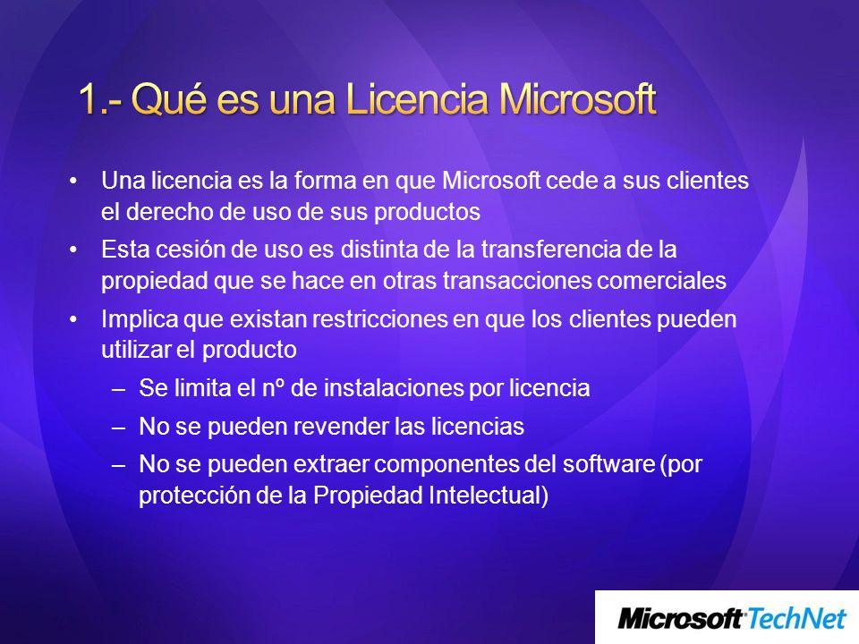 Una licencia es la forma en que Microsoft cede a sus clientes el derecho de uso de sus productos Esta cesión de uso es distinta de la transferencia de