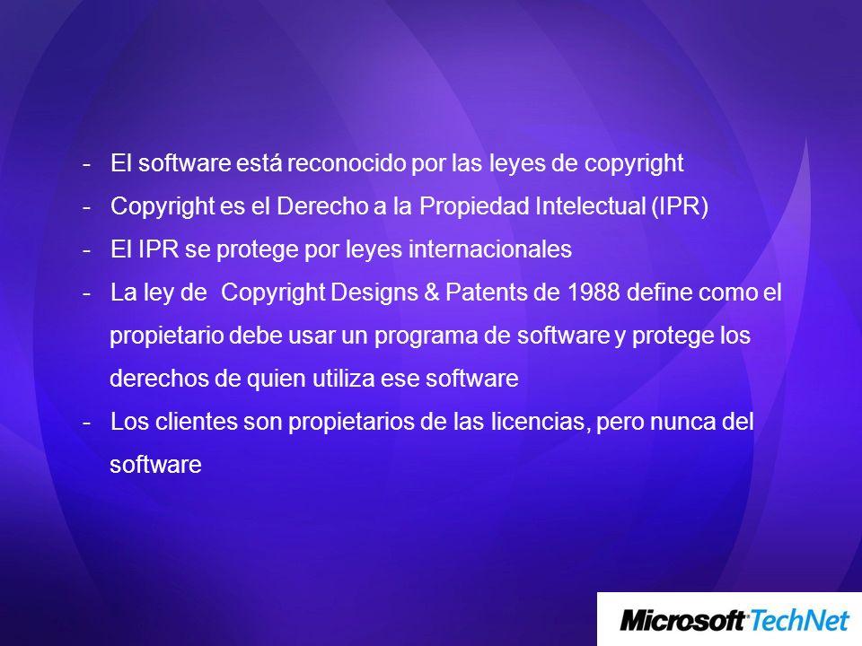 - El software está reconocido por las leyes de copyright - Copyright es el Derecho a la Propiedad Intelectual (IPR) - El IPR se protege por leyes inte