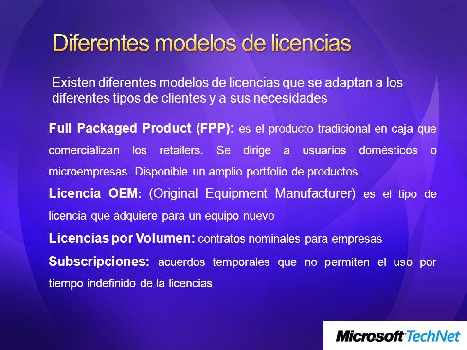 Full Packaged Product (FPP): es el producto tradicional en caja que comercializan los retailers. Se dirige a usuarios domésticos o microempresas. Disp
