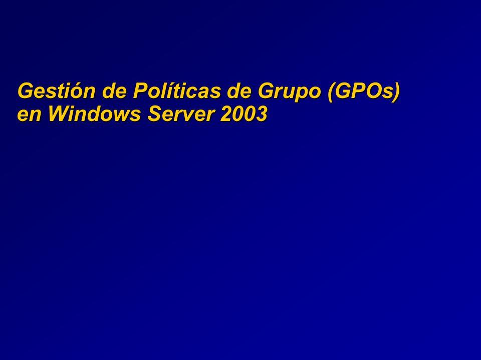 RSOP en GPMC Todas las capacidades de RSoP están en GPMC Todas las capacidades de RSoP están en GPMC GPMC es el acceso recomendado para usar RSoP GPMC es el acceso recomendado para usar RSoP Snap-in de RSoP disponible Snap-in de RSoP disponible GPMC tiene presentación HTML de los datos de RSOP GPMC tiene presentación HTML de los datos de RSOP Más fácil de ver los datos de RSOP Más fácil de ver los datos de RSOP RSoP tiene otros nombres en GPMC RSoP tiene otros nombres en GPMC Group Policy Modeling: planning mode Group Policy Modeling: planning mode Group Policy Results: logging mode Group Policy Results: logging mode