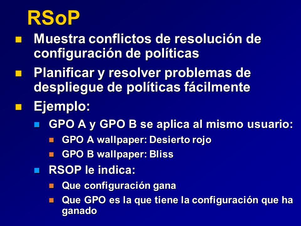 RSoP Muestra conflictos de resolución de configuración de políticas Muestra conflictos de resolución de configuración de políticas Planificar y resolv