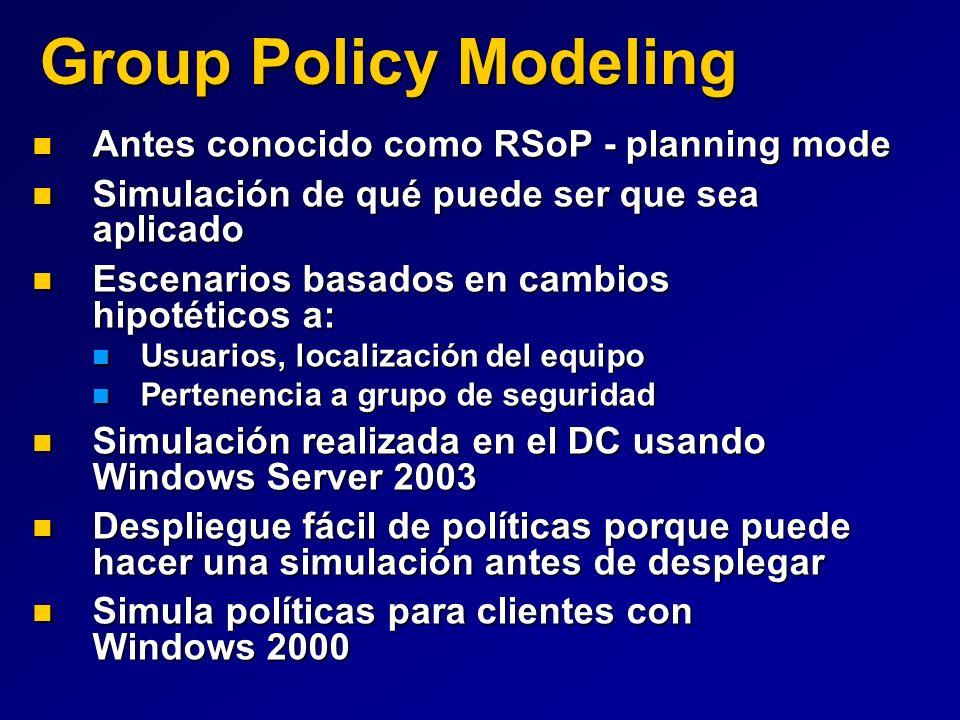 Group Policy Modeling Antes conocido como RSoP - planning mode Antes conocido como RSoP - planning mode Simulación de qué puede ser que sea aplicado S