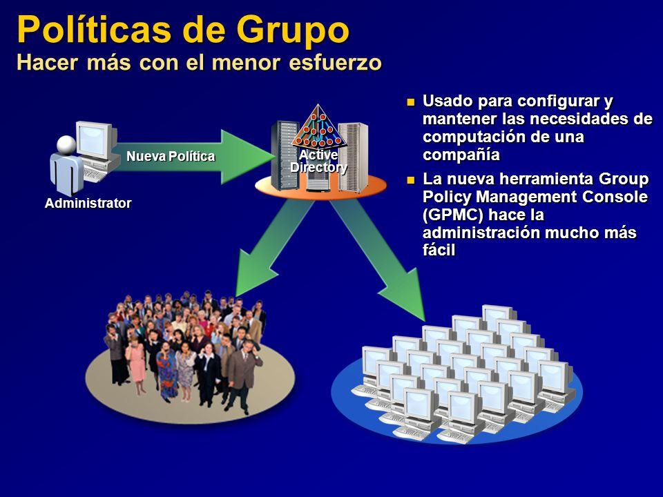 Políticas de Grupo Hacer más con el menor esfuerzo ActiveDirectory Administrator Nueva Política Usado para configurar y mantener las necesidades de co