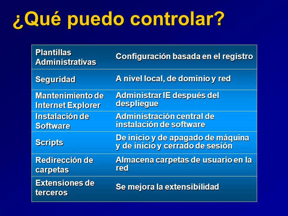 ¿Qué puedo controlar? Configuración basada en el registro A nivel local, de dominio y red Administración central de instalación de software De inicio