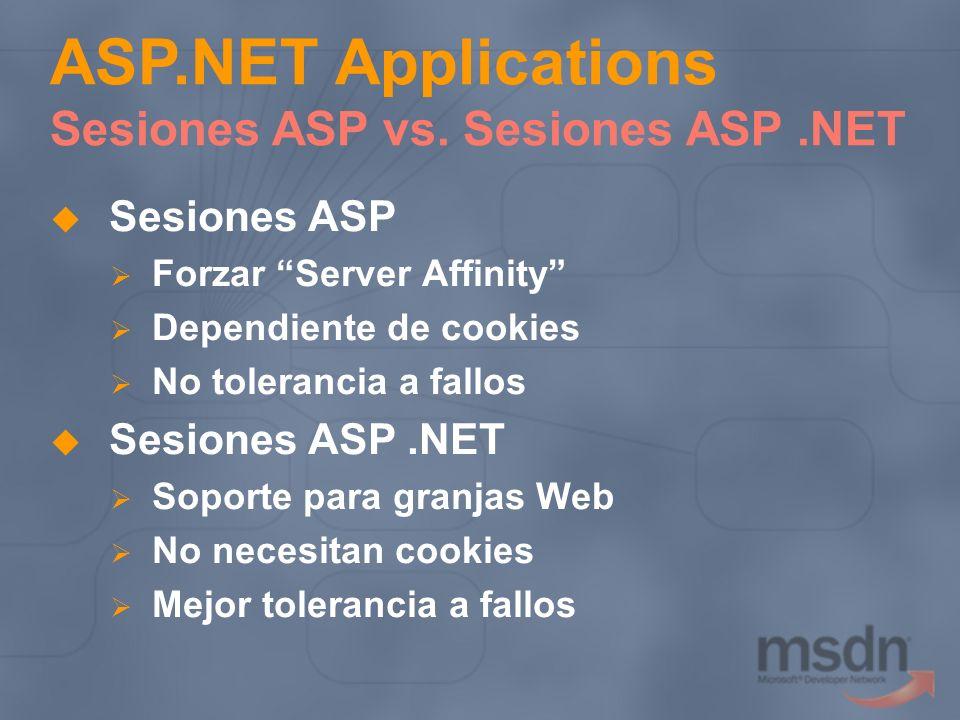 Sesiones ASP Forzar Server Affinity Dependiente de cookies No tolerancia a fallos Sesiones ASP.NET Soporte para granjas Web No necesitan cookies Mejor