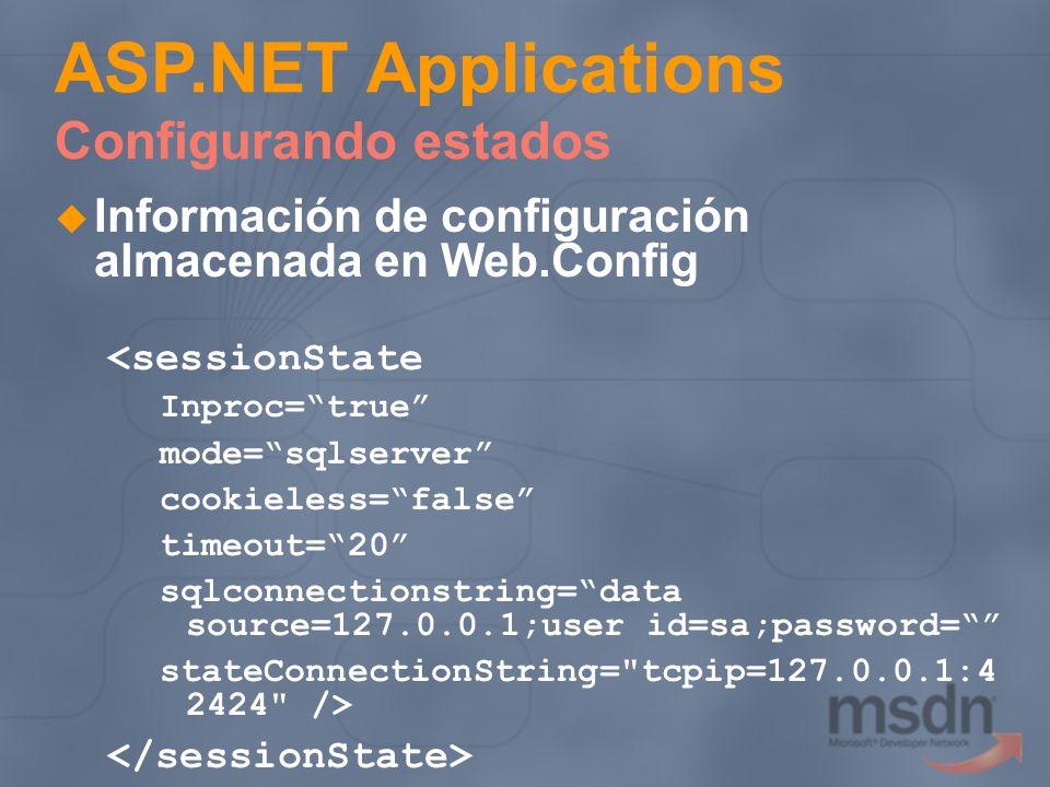 Información de configuración almacenada en Web.Config <sessionState Inproc=true mode=sqlserver cookieless=false timeout=20 sqlconnectionstring=data so