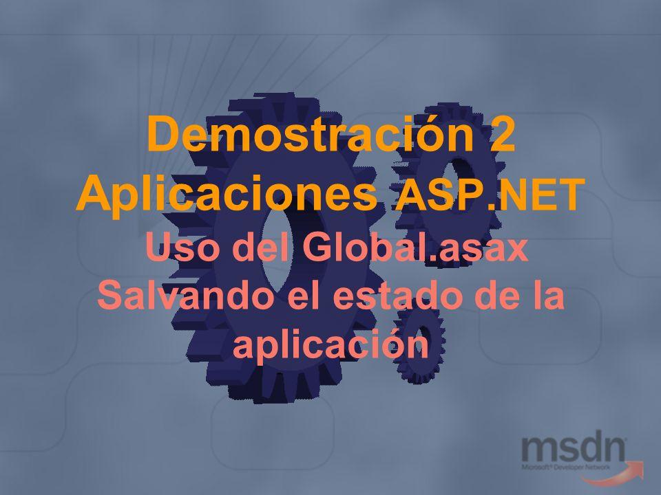 Demostración 2 Aplicaciones ASP.NET Uso del Global.asax Salvando el estado de la aplicación