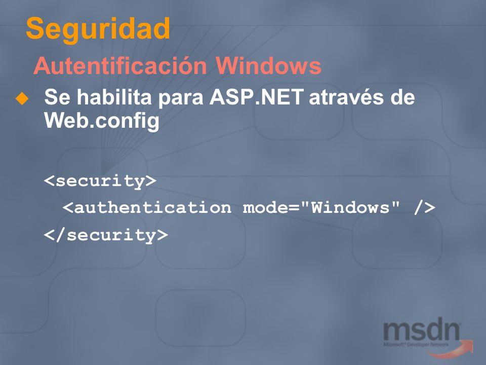 Seguridad Autentificación Windows Se habilita para ASP.NET através de Web.config