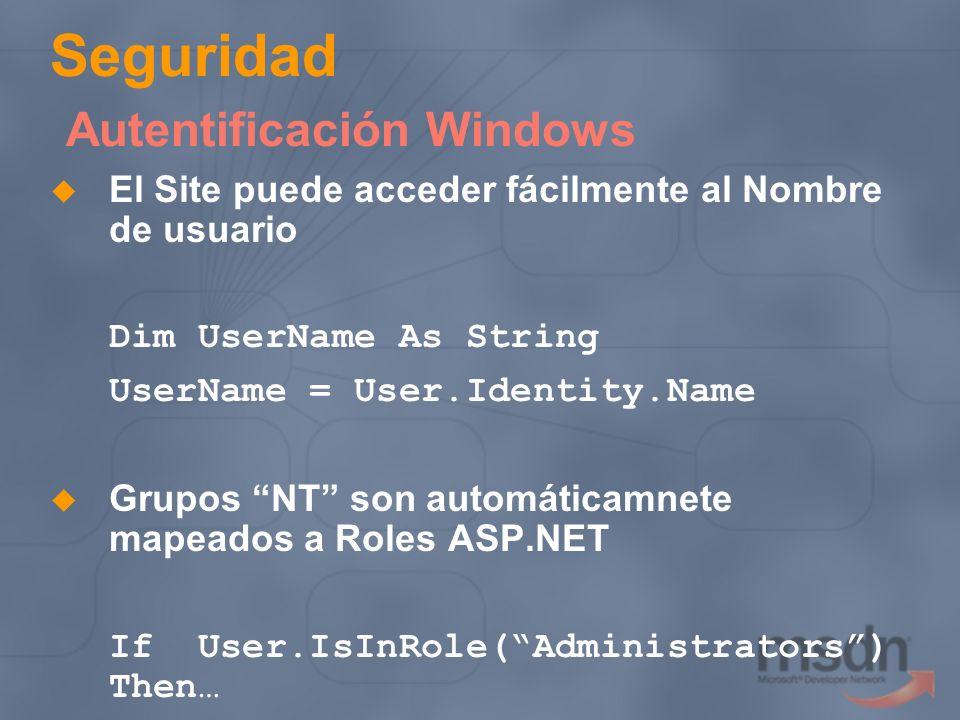 Seguridad Autentificación Windows El Site puede acceder fácilmente al Nombre de usuario Dim UserName As String UserName = User.Identity.Name Grupos NT