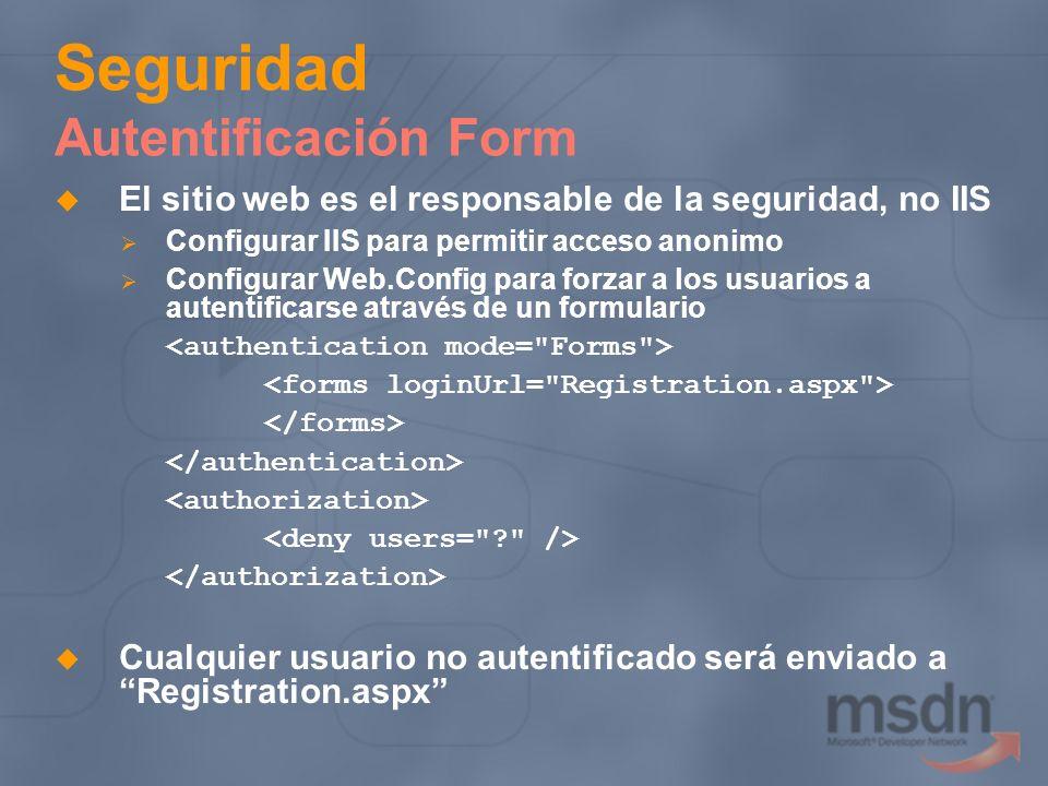 Seguridad Autentificación Form El sitio web es el responsable de la seguridad, no IIS Configurar IIS para permitir acceso anonimo Configurar Web.Confi