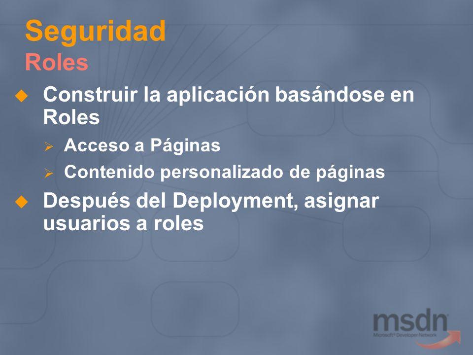 Seguridad Roles Construir la aplicación basándose en Roles Acceso a Páginas Contenido personalizado de páginas Después del Deployment, asignar usuario