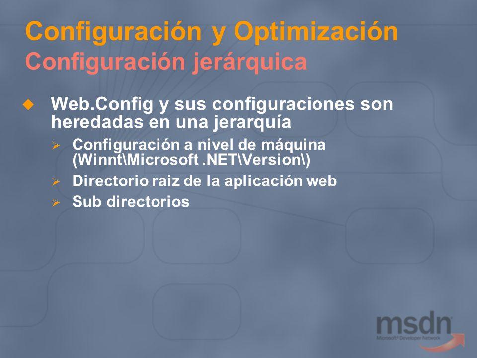 Configuración y Optimización Configuración jerárquica Web.Config y sus configuraciones son heredadas en una jerarquía Configuración a nivel de máquina