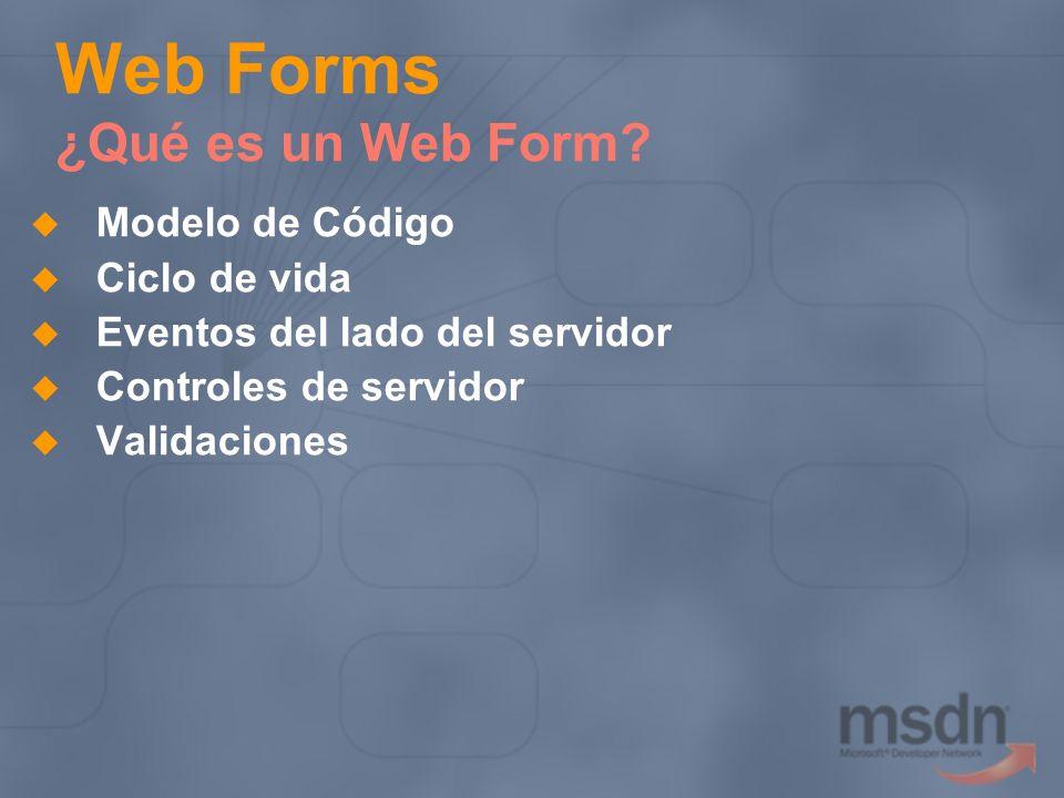 Web Forms ¿Qué es un Web Form? Modelo de Código Ciclo de vida Eventos del lado del servidor Controles de servidor Validaciones