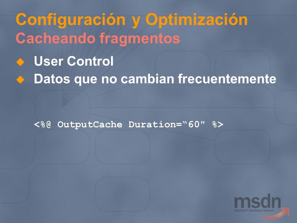 Configuración y Optimización Cacheando fragmentos User Control Datos que no cambian frecuentemente