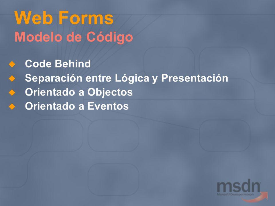 Web Forms Modelo de Código Code Behind Separación entre Lógica y Presentación Orientado a Objectos Orientado a Eventos