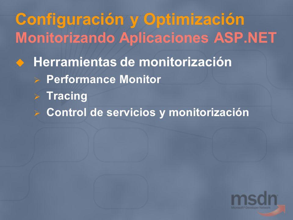 Configuración y Optimización Monitorizando Aplicaciones ASP.NET Herramientas de monitorización Performance Monitor Tracing Control de servicios y moni