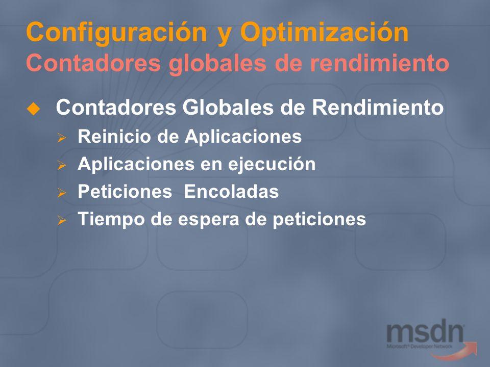 Configuración y Optimización Contadores globales de rendimiento Contadores Globales de Rendimiento Reinicio de Aplicaciones Aplicaciones en ejecución