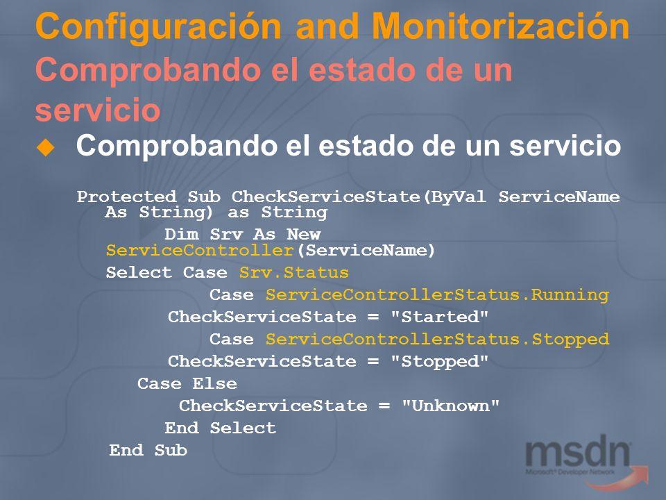 Configuración and Monitorización Comprobando el estado de un servicio Comprobando el estado de un servicio Protected Sub CheckServiceState(ByVal Servi