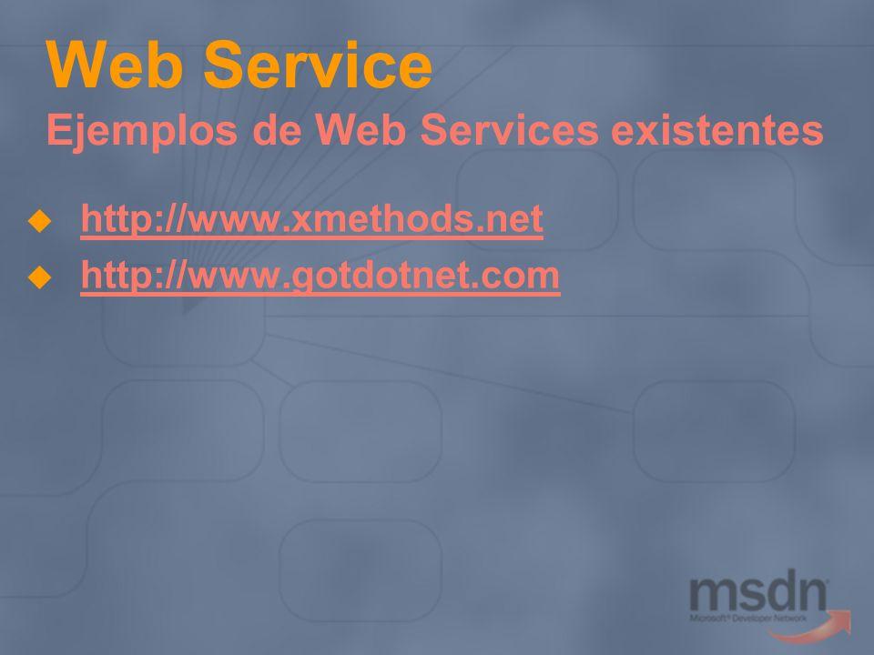 Web Service Ejemplos de Web Services existentes http://www.xmethods.net http://www.gotdotnet.com