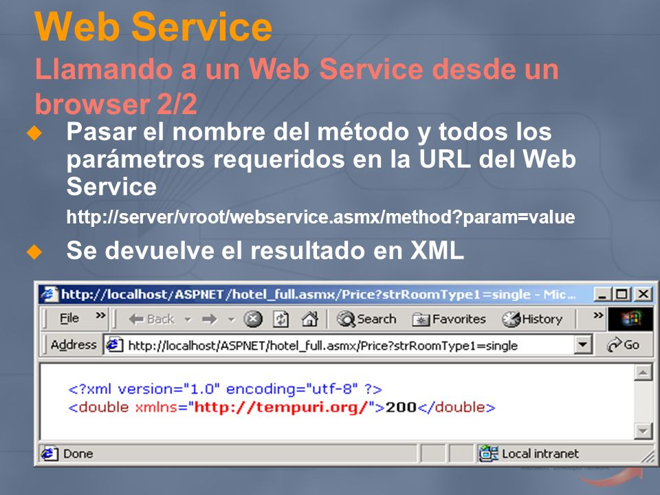 Web Service Llamando a un Web Service desde un browser 2/2 Pasar el nombre del método y todos los parámetros requeridos en la URL del Web Service http