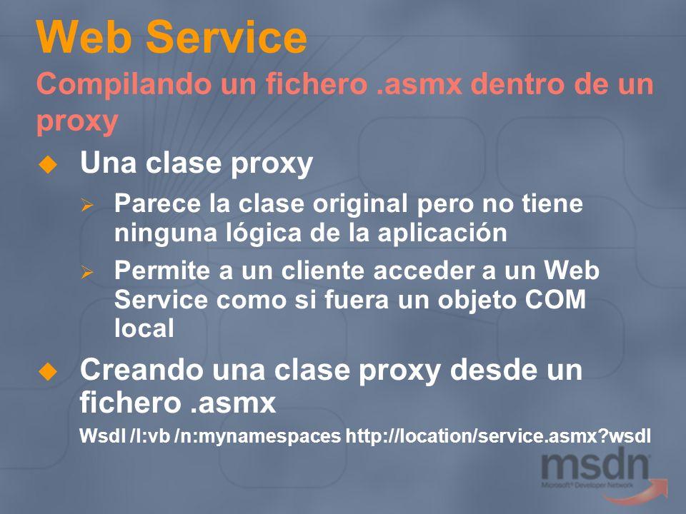 Web Service Compilando un fichero.asmx dentro de un proxy Una clase proxy Parece la clase original pero no tiene ninguna lógica de la aplicación Permi