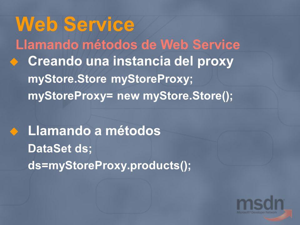 Web Service Llamando métodos de Web Service Creando una instancia del proxy myStore.Store myStoreProxy; myStoreProxy= new myStore.Store(); Llamando a