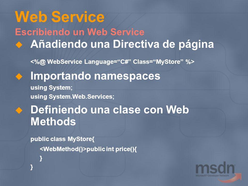 Web Service Escribiendo un Web Service Añadiendo una Directiva de página Importando namespaces using System; using System.Web.Services; Definiendo una