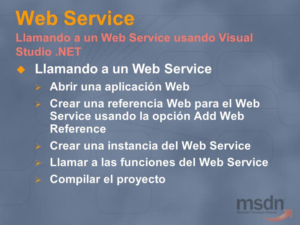 Web Service Llamando a un Web Service usando Visual Studio.NET Llamando a un Web Service Abrir una aplicación Web Crear una referencia Web para el Web