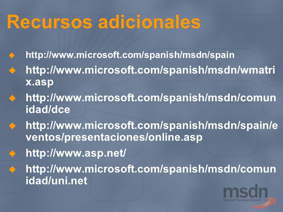 Recursos adicionales http://www.microsoft.com/spanish/msdn/spain http://www.microsoft.com/spanish/msdn/wmatri x.asp http://www.microsoft.com/spanish/m