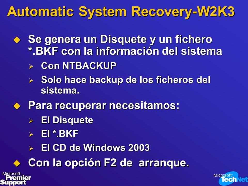 Automatic System Recovery-W2K3 Se genera un Disquete y un fichero *.BKF con la información del sistema Se genera un Disquete y un fichero *.BKF con la