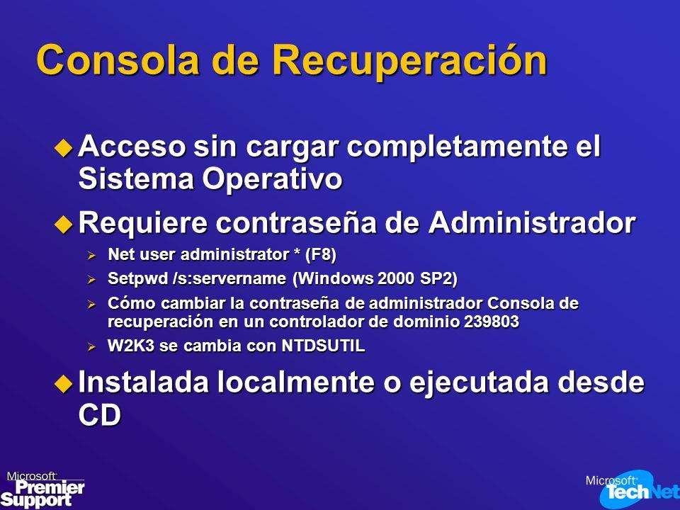 Consola de Recuperación Acceso sin cargar completamente el Sistema Operativo Acceso sin cargar completamente el Sistema Operativo Requiere contraseña
