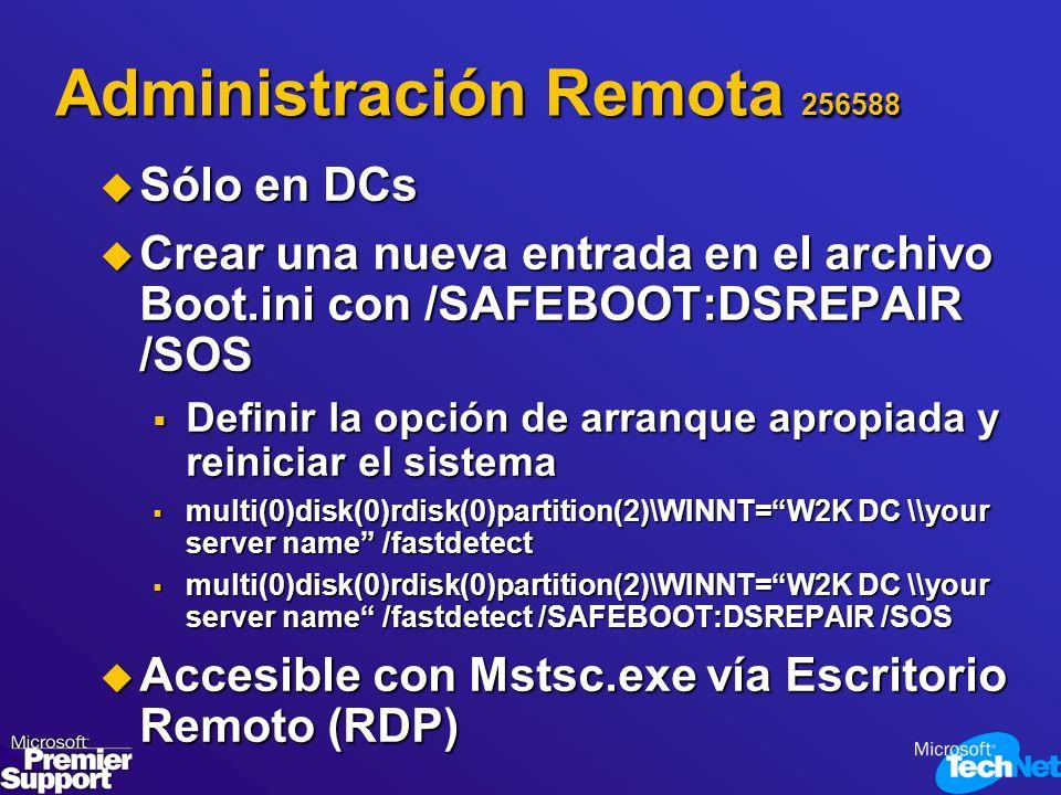 Administración Remota 256588 Sólo en DCs Sólo en DCs Crear una nueva entrada en el archivo Boot.ini con /SAFEBOOT:DSREPAIR /SOS Crear una nueva entrad