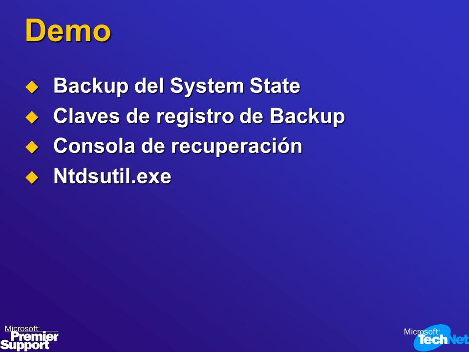 Demo Backup del System State Backup del System State Claves de registro de Backup Claves de registro de Backup Consola de recuperación Consola de recu